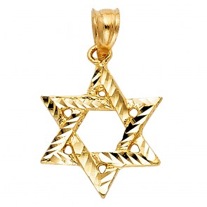 14K yellow Star of David charm EJCM1508