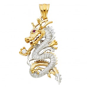 14K Two Tone Gold Dragon Pendant EJPT1538
