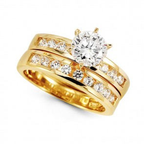 14K CZ Wedding Ring Set EJR2116