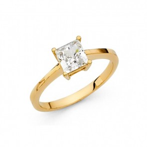14K yellow gold princess cut solitary ring EJLRCZ07