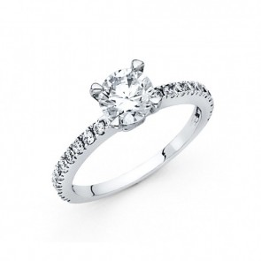 14K white CZ engagement ring EJLRCZ12W