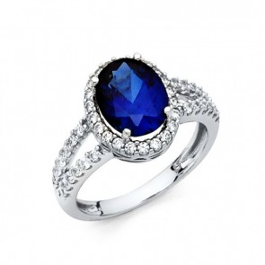 14K White Gold Blue CZ Ring EJRG1322