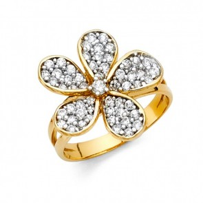 14K two tone CZ Flower ring EJRG1371
