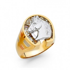 14K Tricolor Horse Shoe Ring EJRG1401