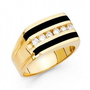 EJMR29629 - Men's 14K Yellow Gold Black Onyx & CZ Ring14K Black Onyx CZ Ring EJMR29629