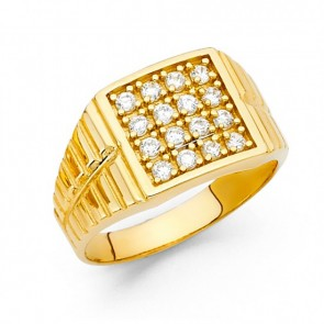 14K yellow Square signet ring EJRG1553