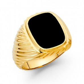 14K Yellow Gold Onyx Ring EJRG1576