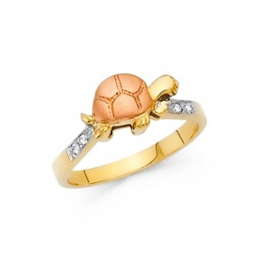 14K tricolor TURTLE ring EJRG1696