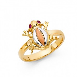 14K tricolor gold frog ring EJRG1699