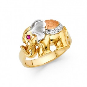 14K tricolor gold elephant ring EJRG1702