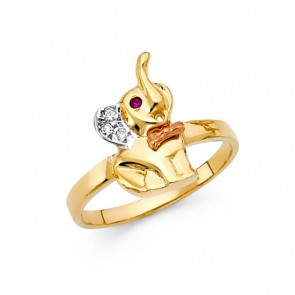 14K tricolor gold elephant ring EJRG1705