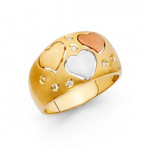 14K tricolor Heart ring EJRG1728