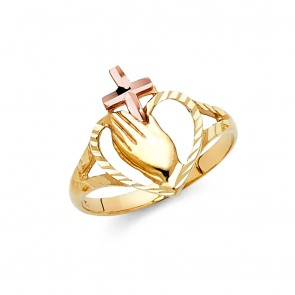 14K praying hands ring EJLR1811