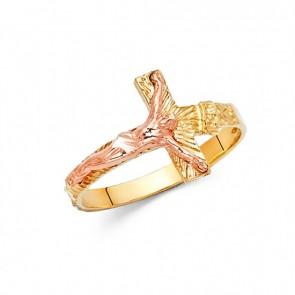 14K yellow and rose Crucifix ring EJRG1816