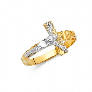 14K Yellow/White Crucifix ring EJRG1817