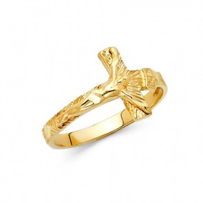 14K yellow gold Crucifix ring EJRG1818