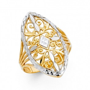 14K two tone filigree Marquise ring EJRG1833
