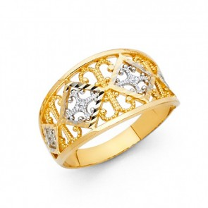 14K yellow gold D/C filigree ring EJLR30710