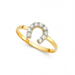 14K yellow CZ Horse Shoe ring EJRG2173