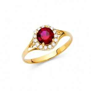 14K Red stone ring EJRG333