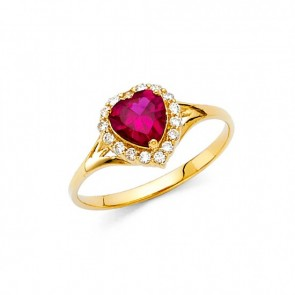 14K Red Heart stone ring EJRG382