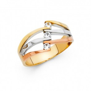 14K tricolor fancy CZ ring EJRG584