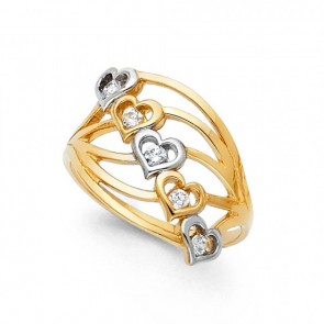 14K two tone gold Hearts ring EJRG594