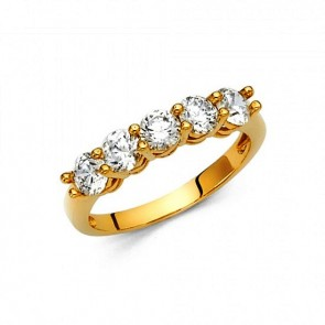 EJLRRG73 - Solid 14K yellow gold CZ wedding band ring for ladies