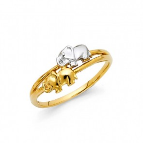 14K gold elephants ring EJRG879