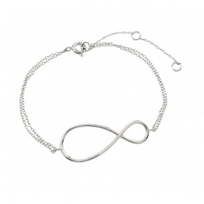 EJSTB00496 - Solid Sterling silver bracelet with infinity pendant