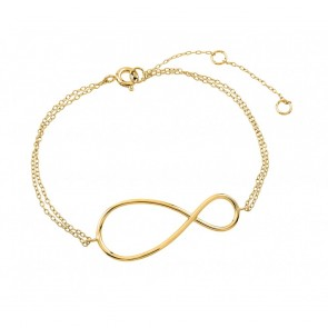 EJSTB00496GP - Solid Sterling silver bracelet in yellow gold with infinity pendant