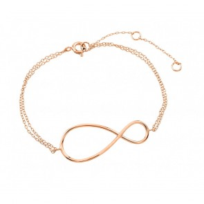 EJSTB00496RGP - Solid Sterling silver bracelet in rose gold with infinity pendant