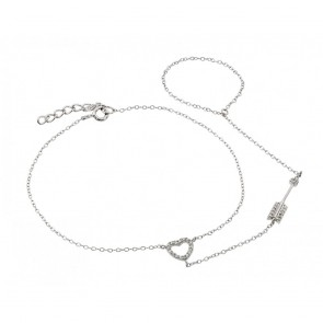 ESTB00501 - Sterling silver  heart and arrow bracelet with chain ring attached