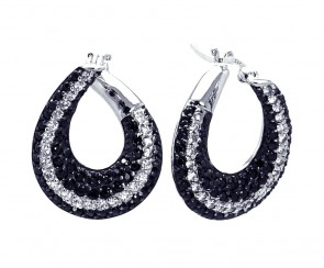 EJSTE00556 - Elegant Sterling Silver earrings with black and white CZ accents