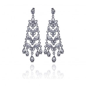 EJSTE00651 - Elegant sterling silver Chandelier CZ earrings