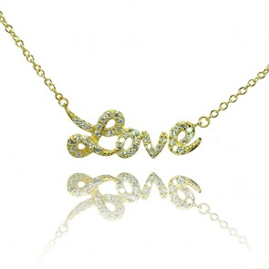 EJSTP00854GP - Elegant sterling silver LOVE necklace in yellow gold