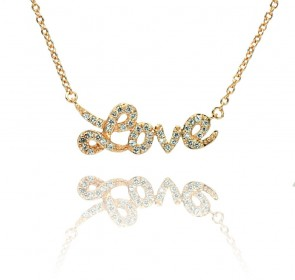 EJSTP00854RGP - Elegant sterling silver LOVE necklace in rose gold