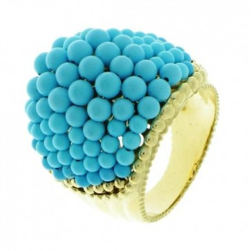 14K Yellow Gold Turquoise Ring EJLR18100T