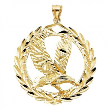 Large 14K gold Eagle in Laurel Crown pendant EJCM26820