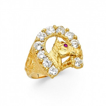 14K Lucky Horse Shoe CZ Ring EJMR29833