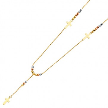 14K tricolor bead Cross necklace EJN12511