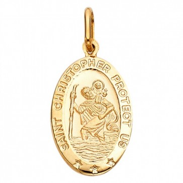 14K yellow gold St. Christopher oval pendant