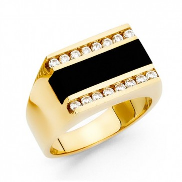 14K Gold Onyx Ring for Men EJRG1487