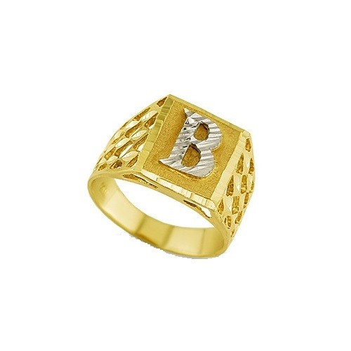 Brand new 14K Square Initial Ring EJMR28808 MM14