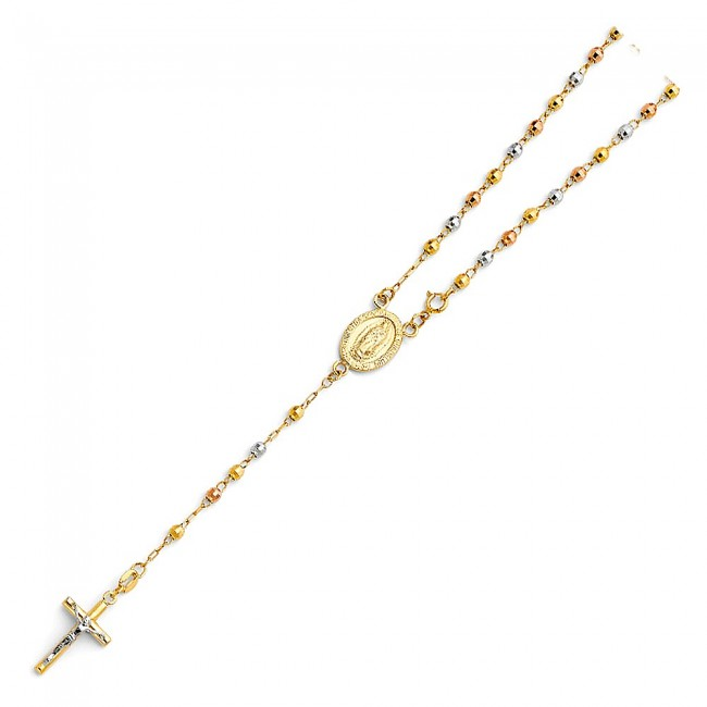 """14K tricolor gold 3mm 18/"""" Rosary EJN14106"""