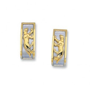 14K two tone panther earrings EJER11901