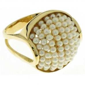 14K Yellow Gold Pearl Ring EJLR18103P