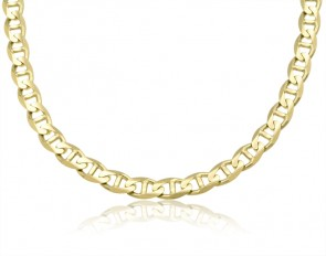 14K Yellow Gold 8mm Concave Mariner Chain 22 inches
