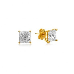 14K Princess CZ stud earrings EJER25412