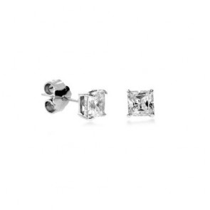 14K white Princess CZ stud earrings EJER25512